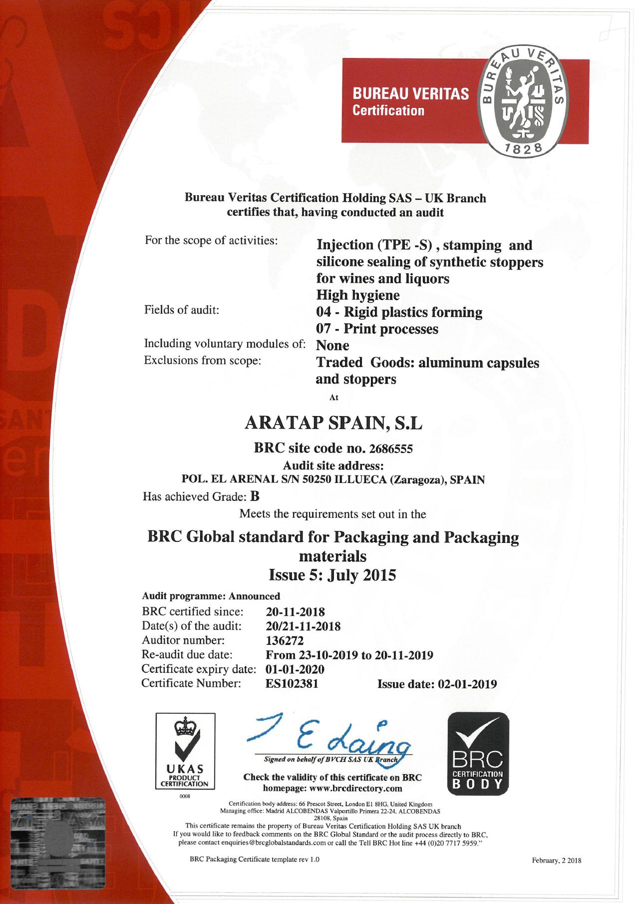 certificado BRC Aratap