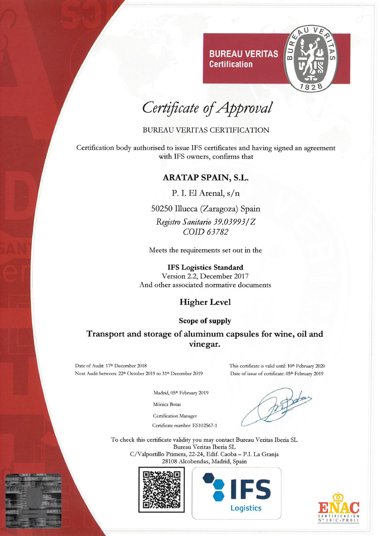 certificado IFS Aratap